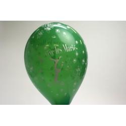 ballons 30cm : imprimé « vive les mariés» vert foncé (les 8)