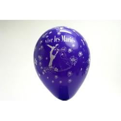 ballons 30cm : imprimé « vive les mariés» violet (les 8)