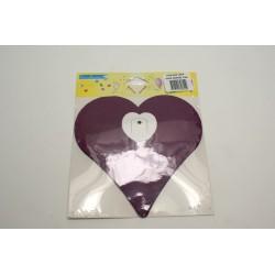 déco en papier : guirlande de cœur 3m violet
