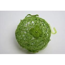 déco naturelle vert anis : boule en osier  12cm