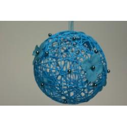 déco naturelle turquoise : boule en osier  12cm