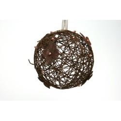 déco naturelle chocolat : boule en osier  12cm