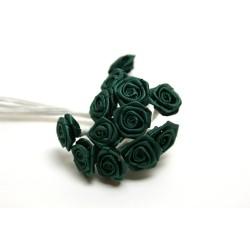 fleurs : 12 mini roses  vert sapin