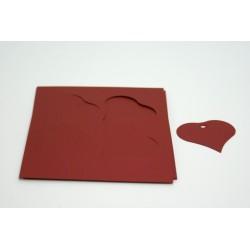 étiquettes à dragées «cœur nacré bordeaux»   (les 12)