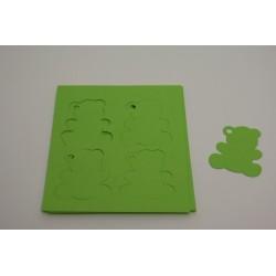 étiquettes à dragées «ourson vitamine vert anis»   (les 12)