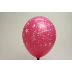 ballons 30cm imprimés communion rose (les 8)