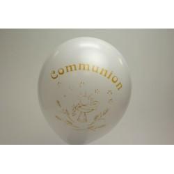 ballons imprimés 1 face communion BLANC  (les 10)