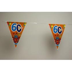 déco : guirlande 6m  de 15 fanions en plastique multicolore «chiffre 60»