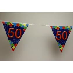 déco : guirlande 6m de 12 fanions en papier  «chiffre 50»