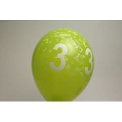 déco : ballons  MULTICOLORE 30cm imprimés chiffre 3 (les 8)