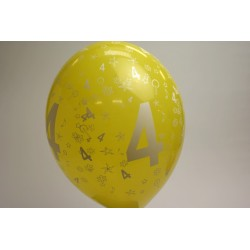 déco : ballons MULTICOLORE 30cm imprimés chiffre  4 (les 8)