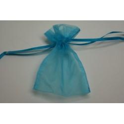 conditionnement tissu : sac organdi «pochon» turquoise   (les 10)