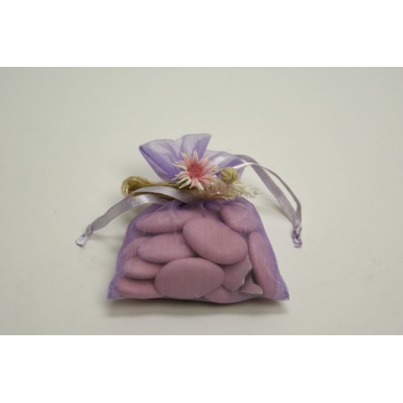 conditionnement tissu : sac organdi «pochon» lilas (parme)  (les 10)
