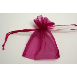 conditionnement tissu : sac organdi «pochon» fuchsia  (les 10)
