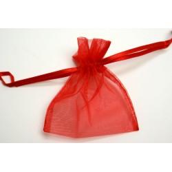 conditionnement tissu : sac organdi «pochon» ROUGE FRANCE   (les 10)