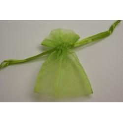 conditionnement tissu : sac organdi «pochon» vert anis   (les 10)