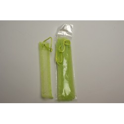 conditionnement tissu : sacs organdis «tube» vert anis   (les 6)