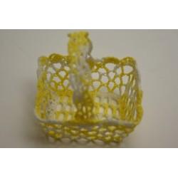 conditionnement tissu : 12 paniers crochet jaune et blanc
