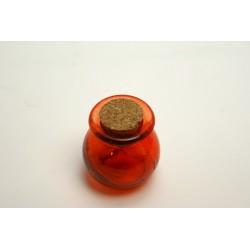 conditionnement verre : pot rond pm en verre orange avec bouchon en liège