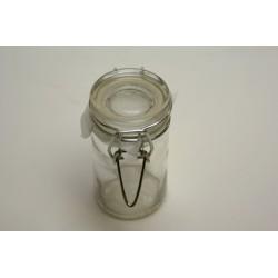 conditionnement verre : bocal cylindrique en verre transparent de 8cm avec fermeture métal