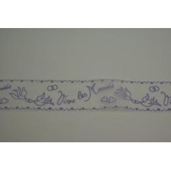 tulle floqué 20m x 8cm «vive les mariés» lilas (parme)