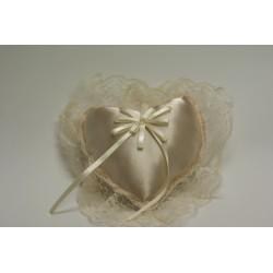 coussin alliance + dentelle + perles «ivoire»