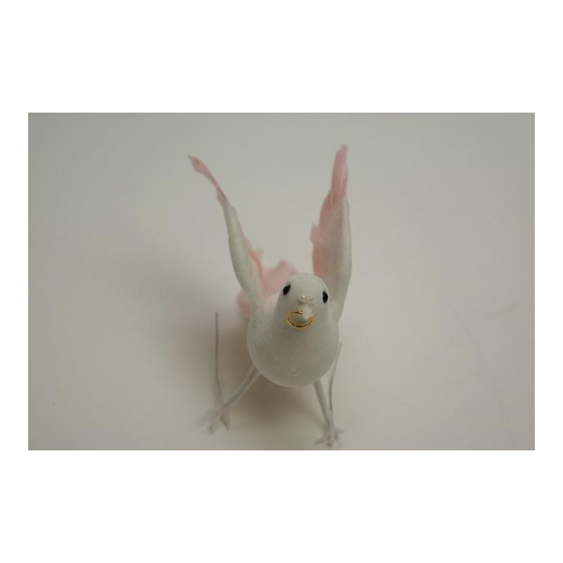 déco naturelle rose : colombe 16cm