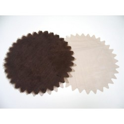 conditionnement tissu : tulles «cristal festonné 23cm» chocolat  (les 6)