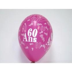 déco : ballonscouleurn assortie 30cm imprimés «chiffre 60» (les 8)