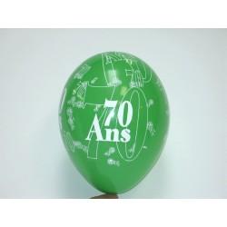 déco : ballons 30cm imprimés «chiffre 70» (les 8)