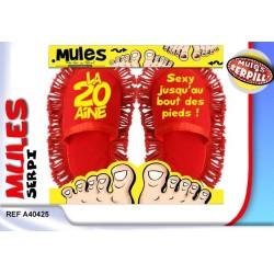 """Mules serpillère """"1 an de plus - les pieds bien au chaud!"""""""