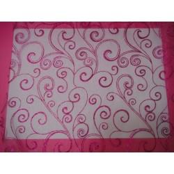 nappage : chemin de table organza chocolat arabesque or/ivoire