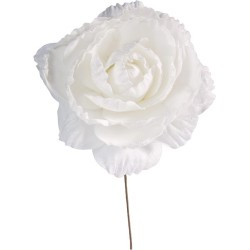 accessoire : grand pivoine blanche pailletée