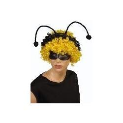 perruque : abeille frisée blande avec antennes