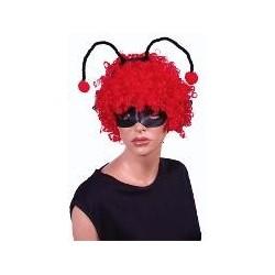 perruque : coccinelle frisée rouge avec antennes