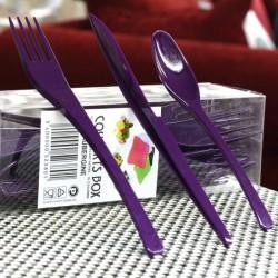 Vaisselle : couverts box 10 fourchettes/couteaux/cuillères violet