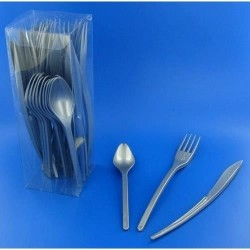 Vaisselle : Couverts box 10 fourchettes/couteaux/cuillères gris