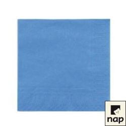 100 serviettes ouate lisse 38x38cm 2 feuilles bleu ciel