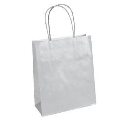 50 sacs papier kraft GRIS poignées ficelles torsadées. 35X14X40cm 21332