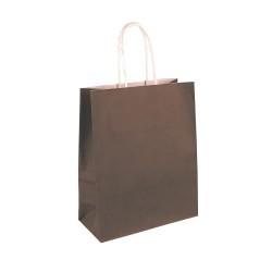 50 sacs papier kraft MARRON poignées ficelles torsadées. 23X12X30cm 21386