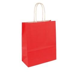 50 sacs papier kraft ROUGE poignées ficelles torsadées. 35X14X40cm 21281