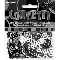 confettis de table chiffre 60 noir et argent