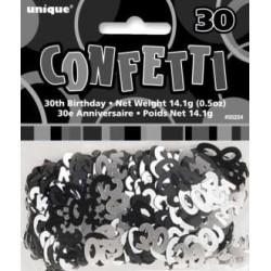 Confettis de table 30 noir et argent