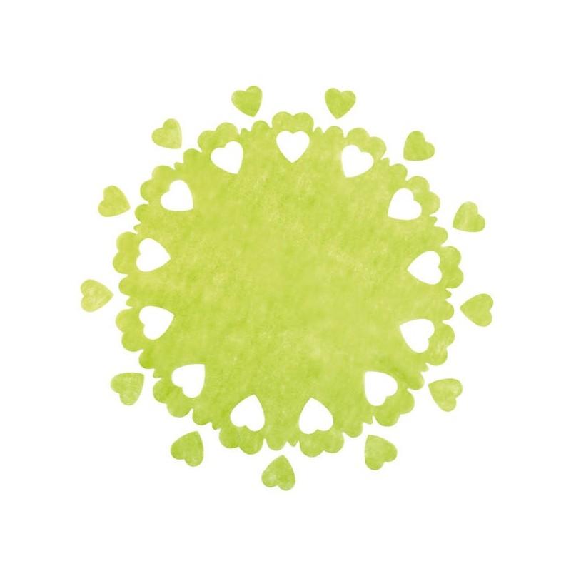 Centre de table perforé coeurs vert anis ( x 5)