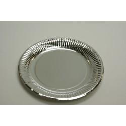 vaisselle : assiettes en carton argent 23cm (les 20)