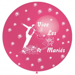 ballon 1m : imprimé « vive les mariés» rose