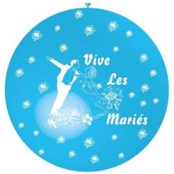 ballon 1m : imprimé « vive les mariés» bleu ciel
