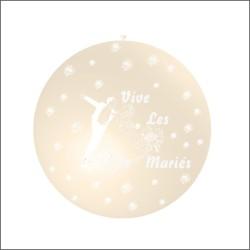 ballon 1m : imprimé « vive les mariés» ivoire