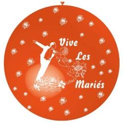 ballon 1m : imprimé « vive les mariés» orange