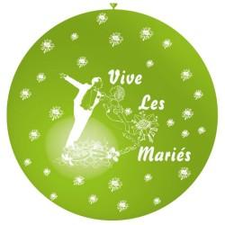 ballon 1m : imprimé « vive les mariés» anis